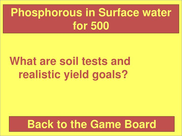 Phosphorous in Surface water for 500