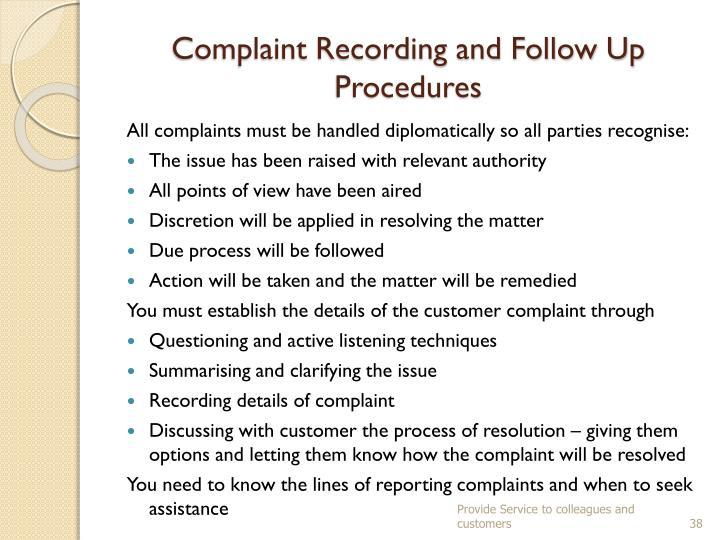 Complaint Recording and Follow Up Procedures