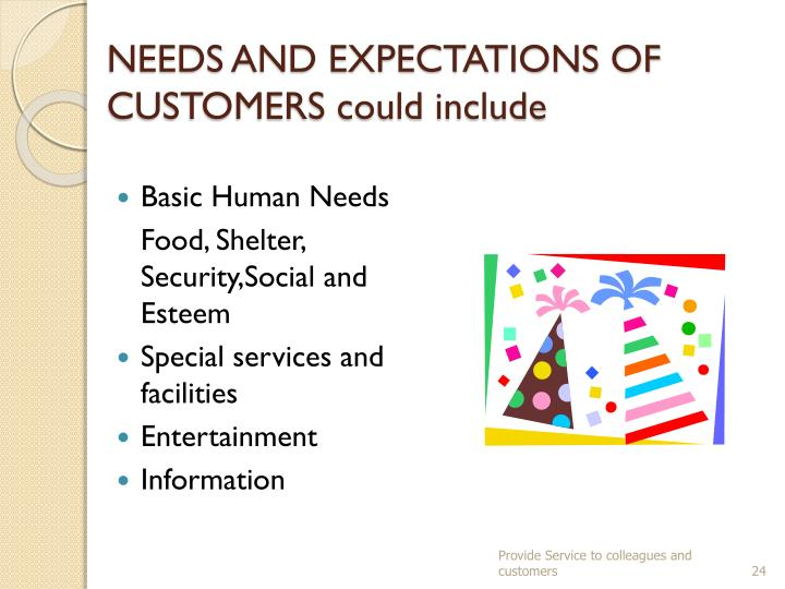 NEEDS AND EXPECTATIONS OF CUSTOMERS could include