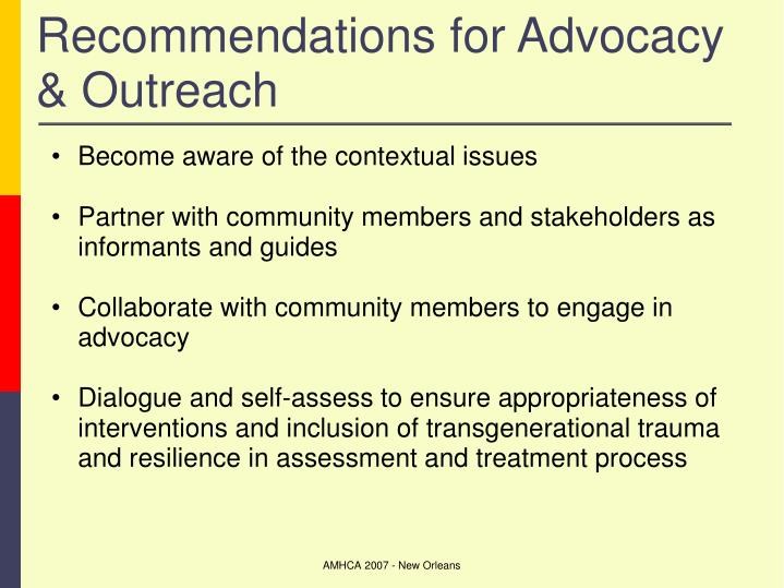 Recommendations for Advocacy & Outreach