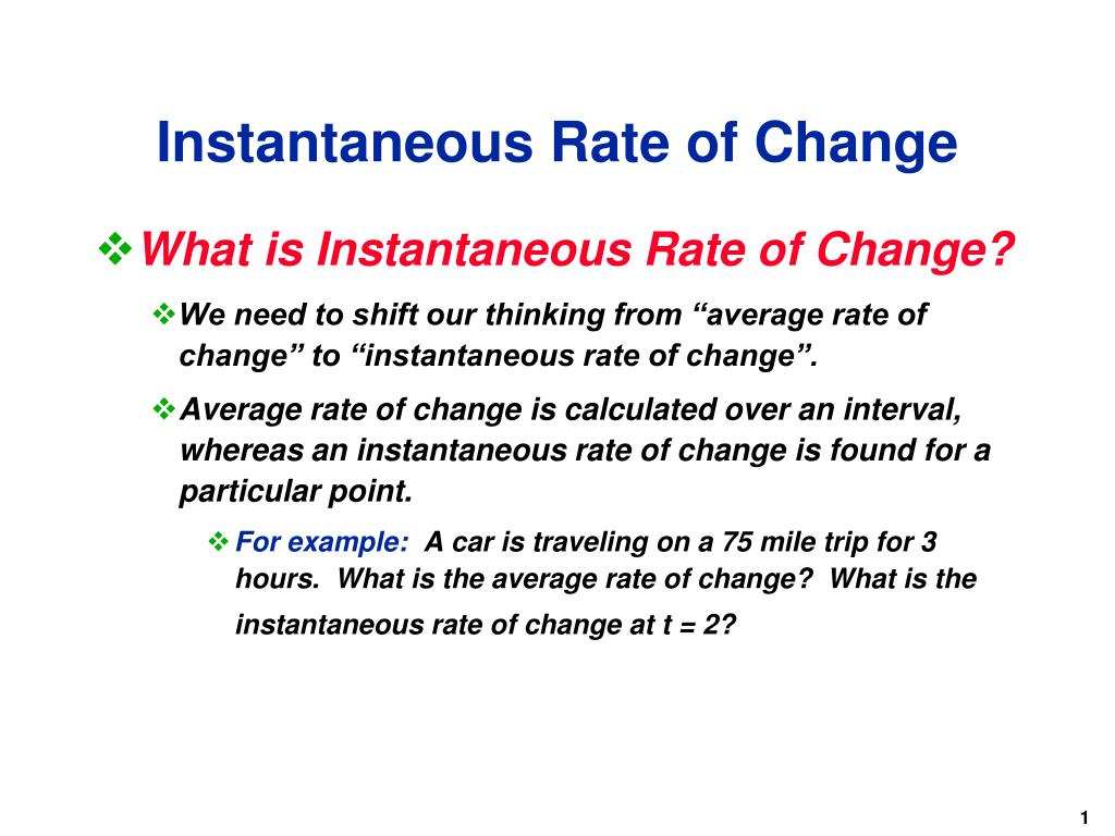 ppt - instantaneous rate of change powerpoint presentation - id:6310403