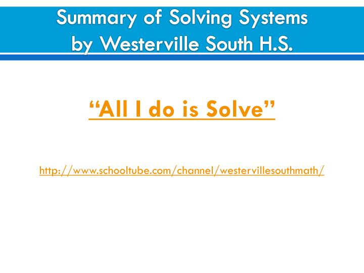 Summary of Solving Systems