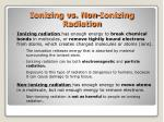 ionizing vs non ionizing radiation