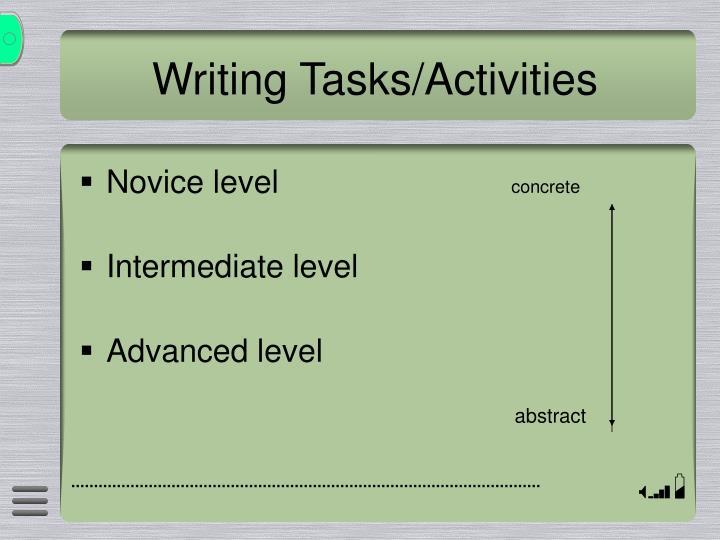 Writing Tasks/Activities