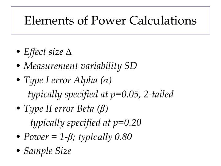 Elements of Power Calculations