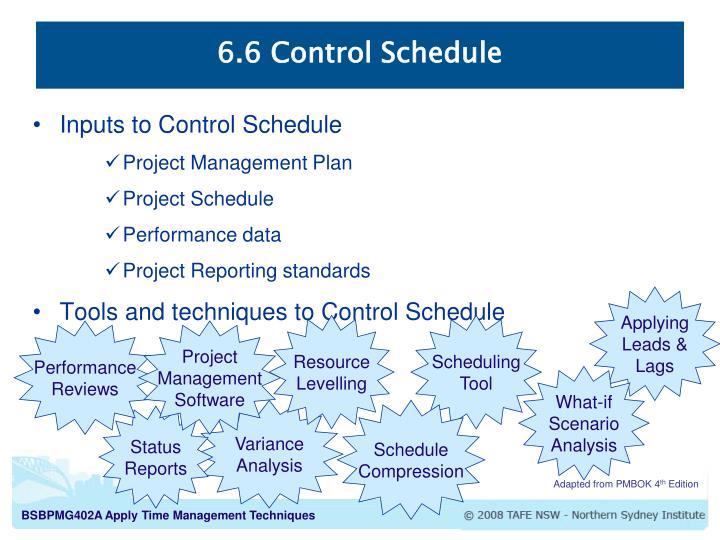 6.6 Control Schedule