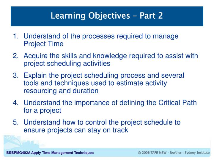 Learning Objectives – Part 2
