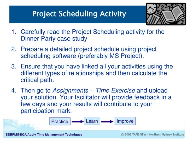 Project Scheduling Activity