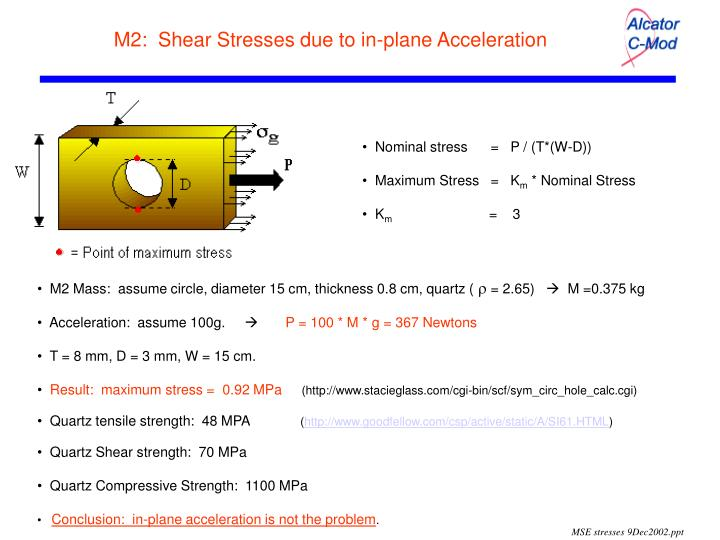 M2 shear stresses due to in plane acceleration