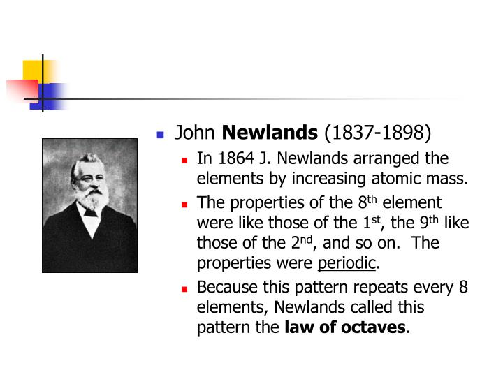 How Did John Newlands Contribute To The Periodic Table Modern