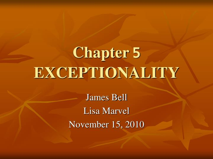 Chapter 5 exceptionality
