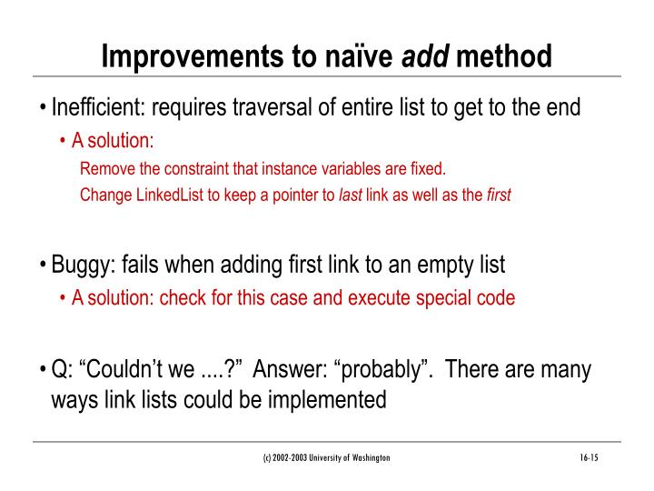 Improvements to naïve
