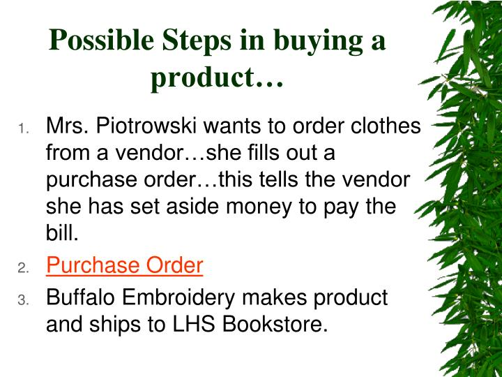 Possible steps in buying a product