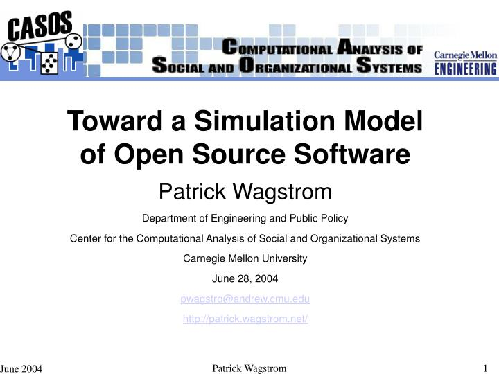 Toward a Simulation Model of Open Source Software