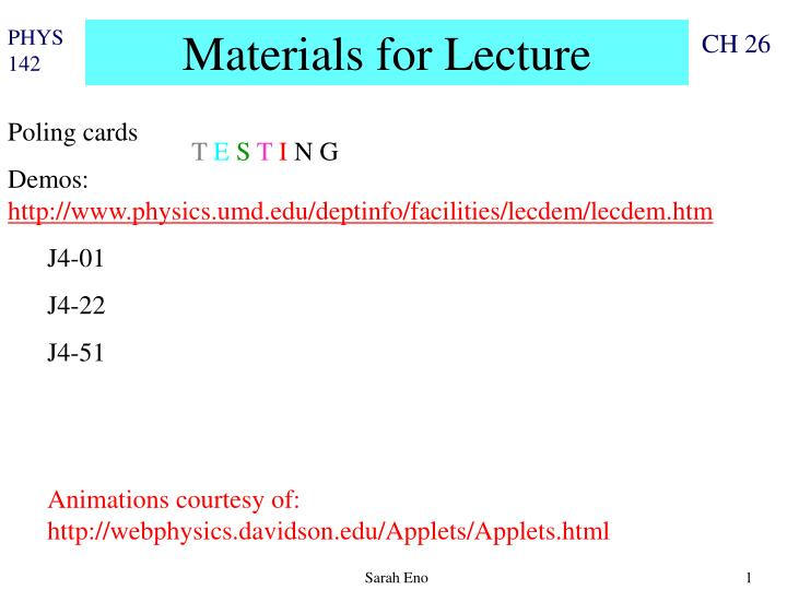 materials for lecture n.