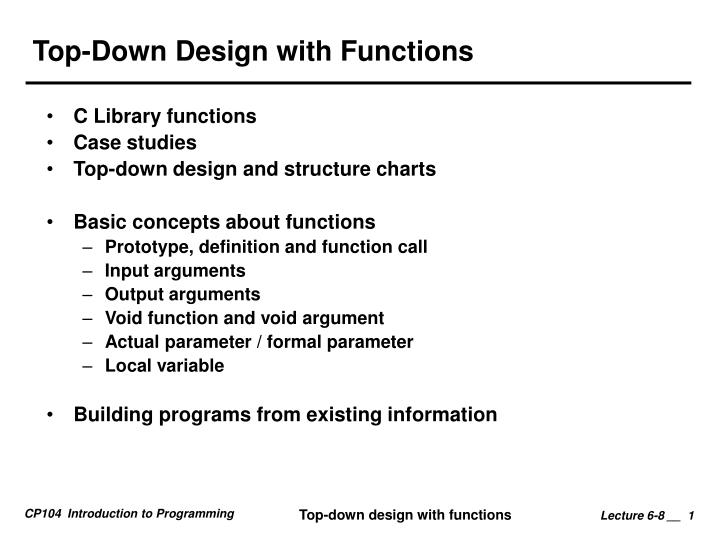 PPT - Top-Down Design with Functions PowerPoint Presentation