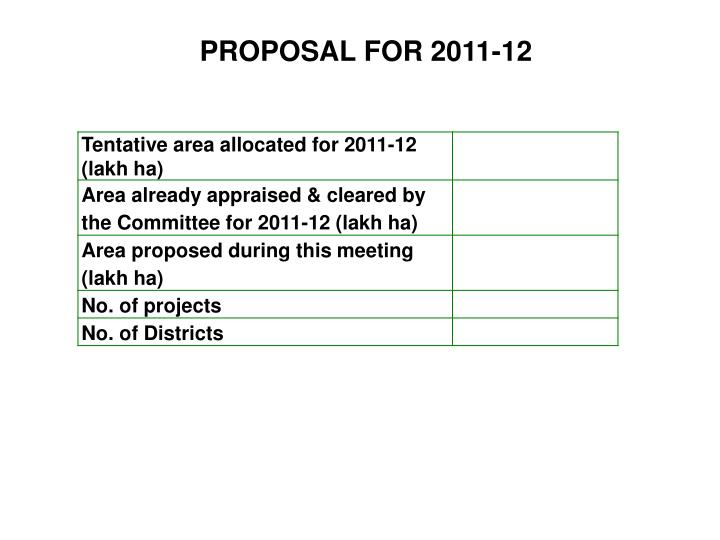 PROPOSAL FOR 2011-12