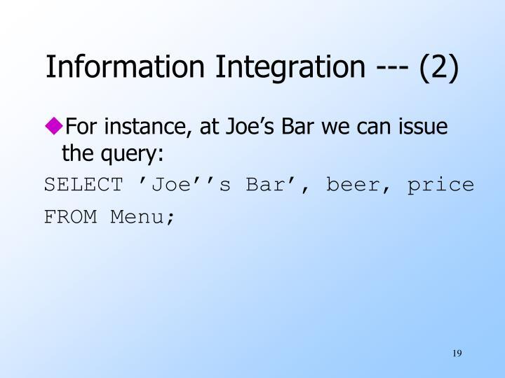 Information Integration --- (2)