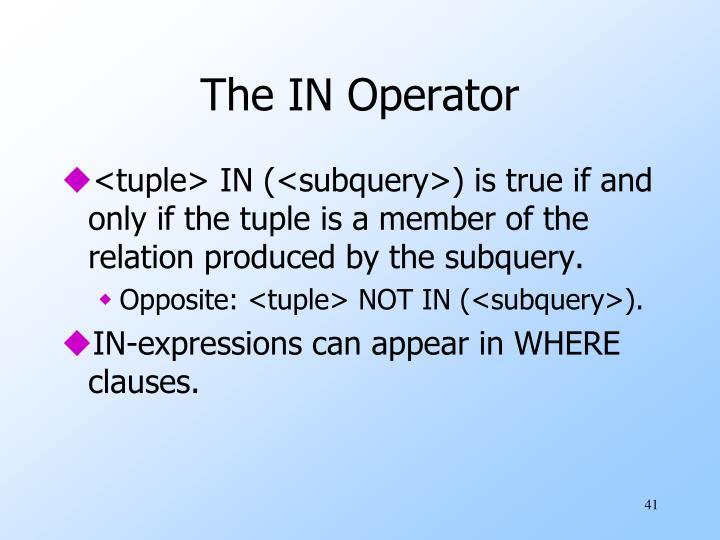 The IN Operator