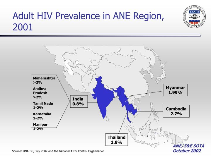 Adult HIV Prevalence in ANE Region, 2001