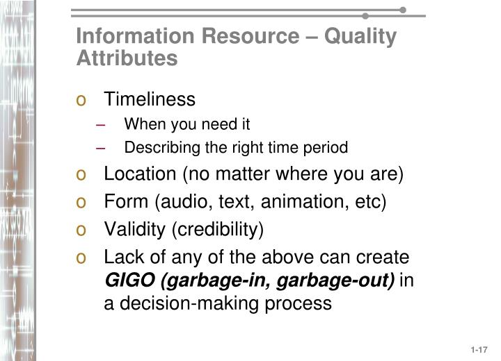 Information Resource – Quality Attributes