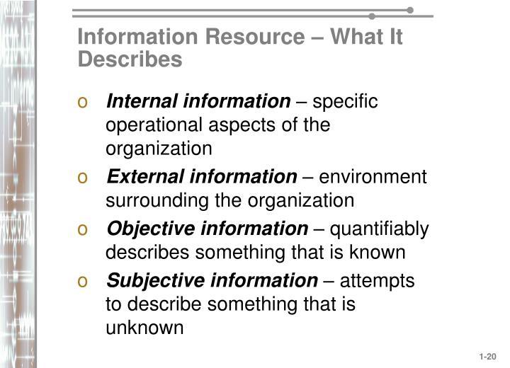 Information Resource – What It Describes