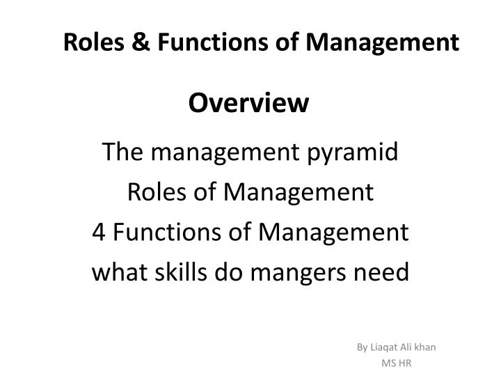 PPT - Roles & Functions of Management PowerPoint