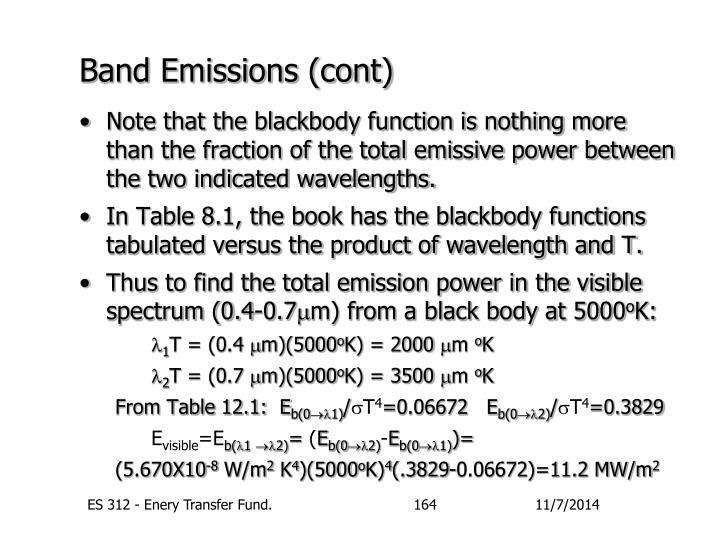 Band Emissions (cont)