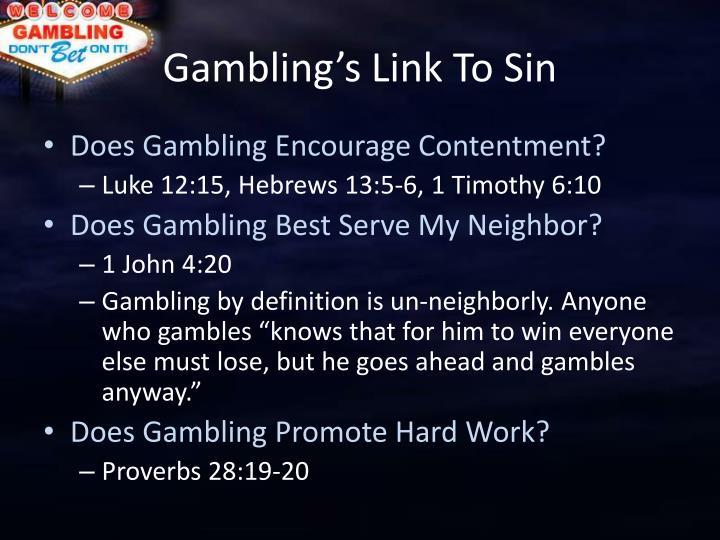 Gambling s link to sin