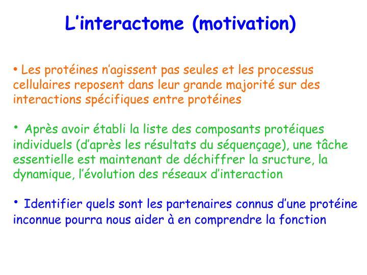 L'interactome (motivation)