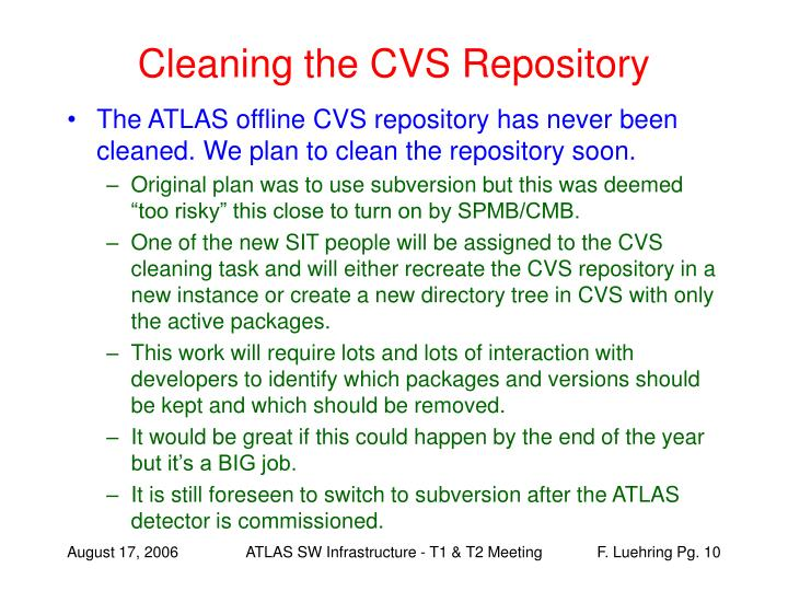 Cleaning the CVS Repository