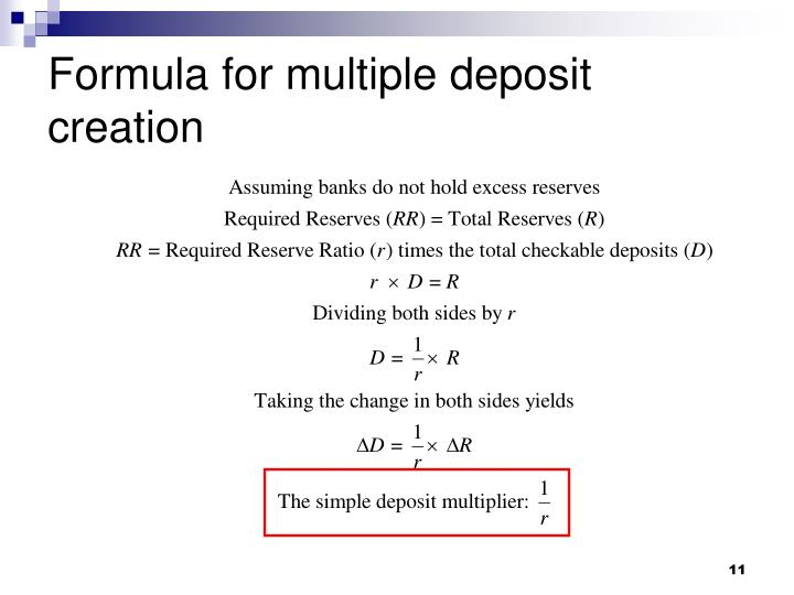 Formula for multiple deposit creation