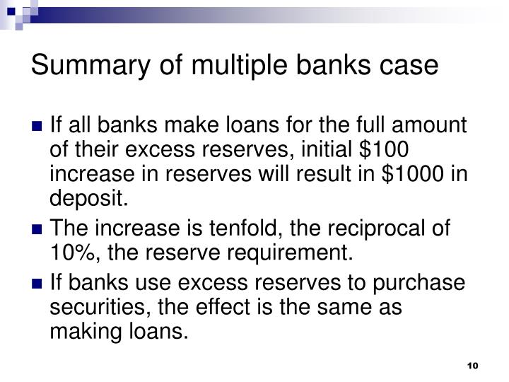 Summary of multiple banks case