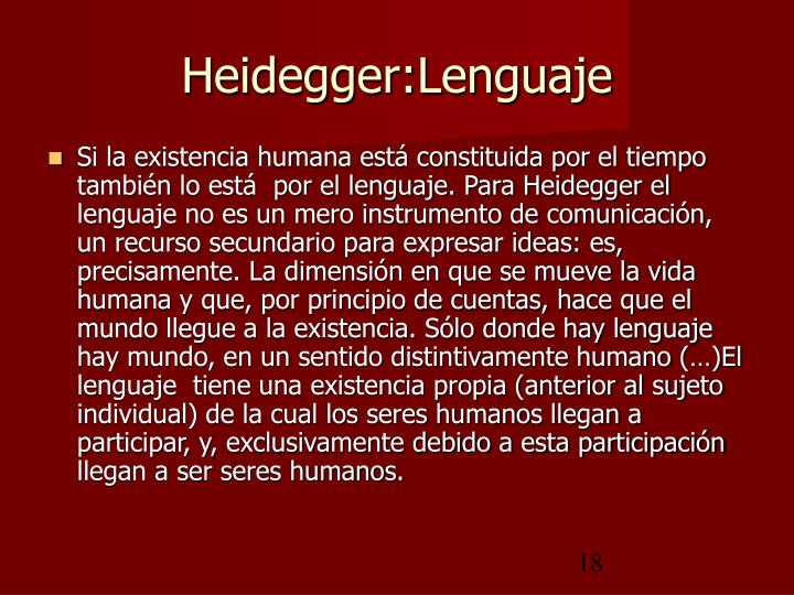 Heidegger:Lenguaje