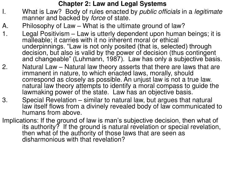 Chapter 2: Law and Legal Systems
