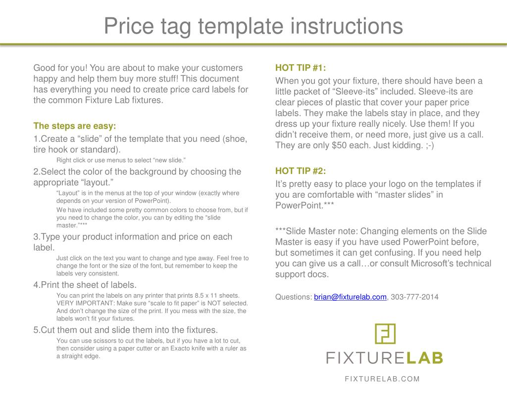 ppt price tag template instructions powerpoint presentation id