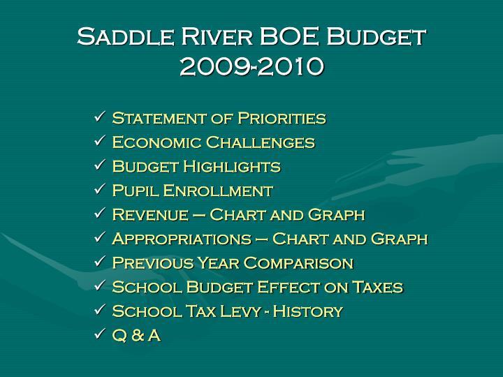 Saddle river boe budget 2009 2010