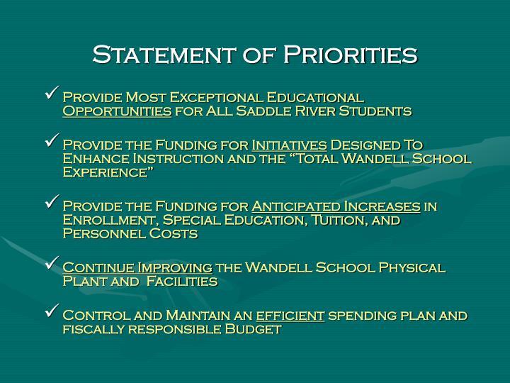 Statement of Priorities