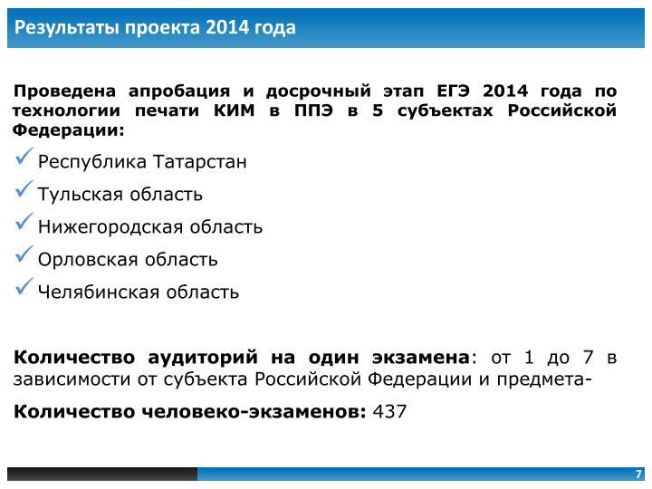 Результаты проекта 2014 года
