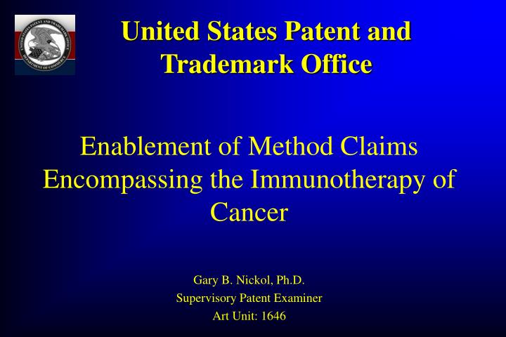 enablement of method claims encompassing the immunotherapy of cancer n.