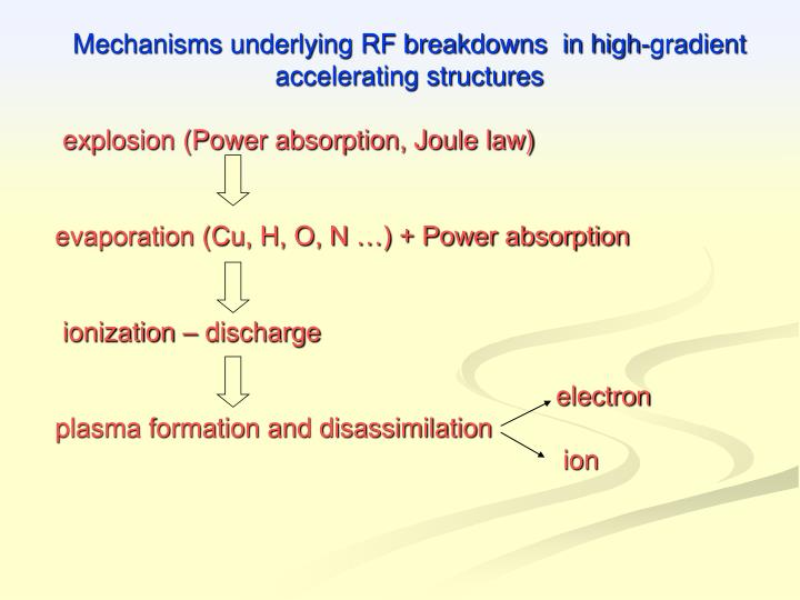 Mechanisms underlying RF breakdowns  in high-gradient accelerating structures