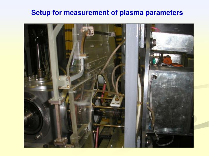 Setup for measurement of plasma parameters