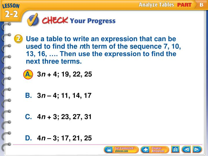 Use a table to write an expression that can be used to find the