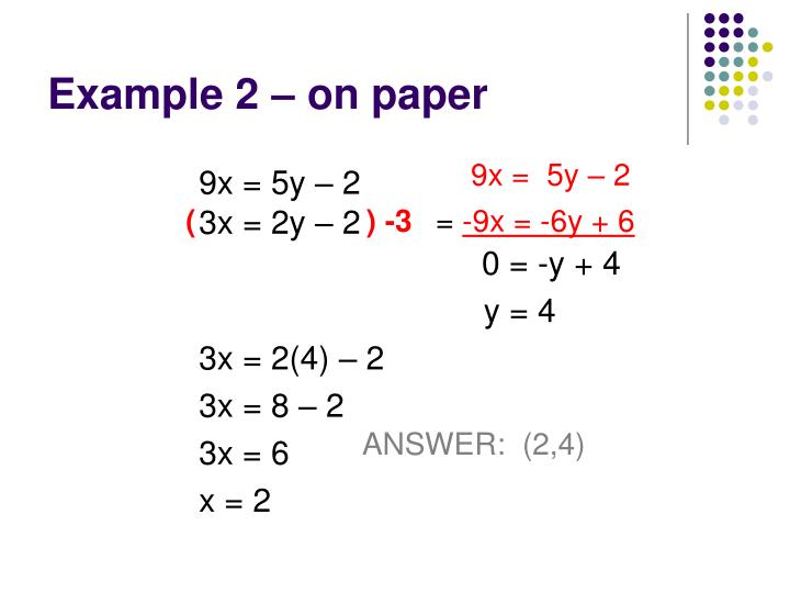 Example 2 – on paper