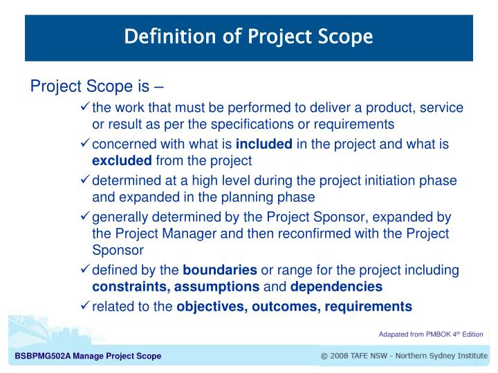definition of project scope n.