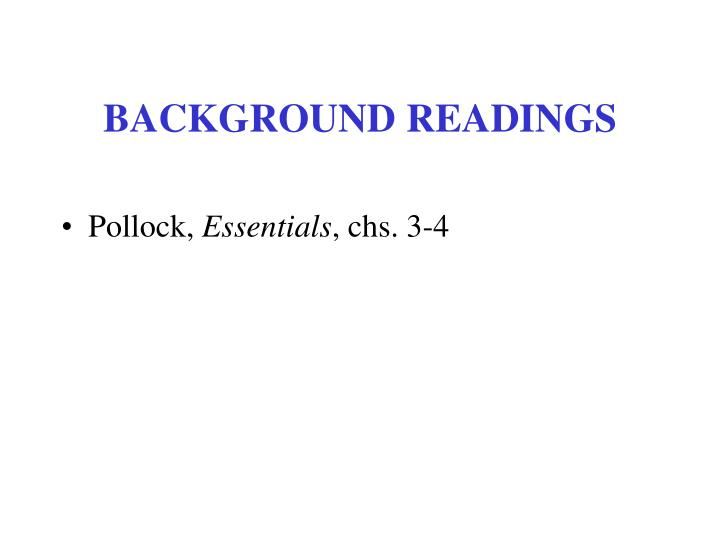 Background readings