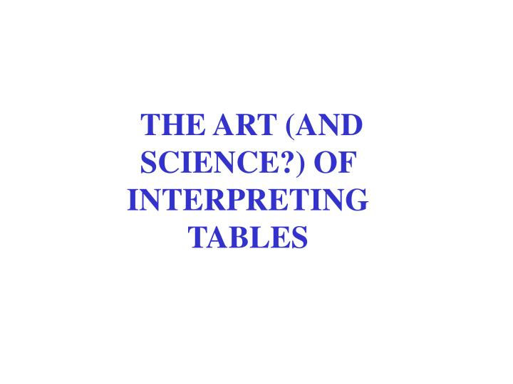THE ART (AND SCIENCE?) OF INTERPRETING