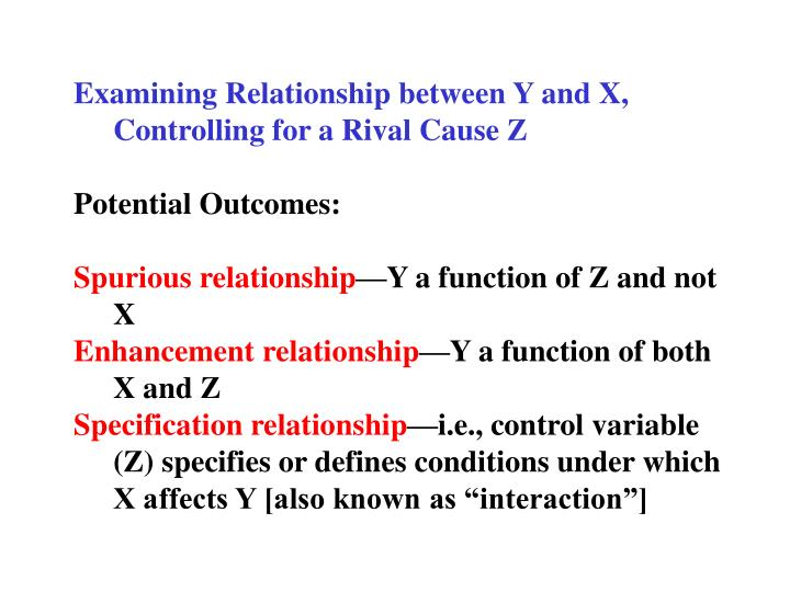 Examining Relationship between Y and X, Controlling for a Rival Cause Z
