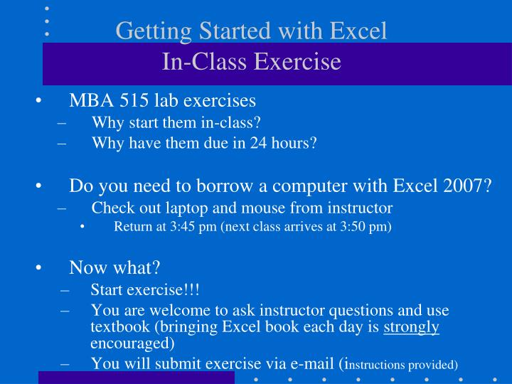 Getting started with excel in class exercise