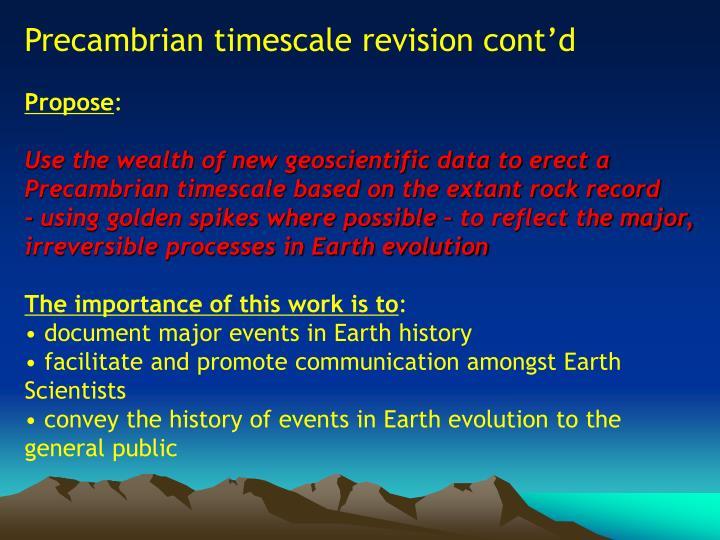 Precambrian timescale revision cont'd